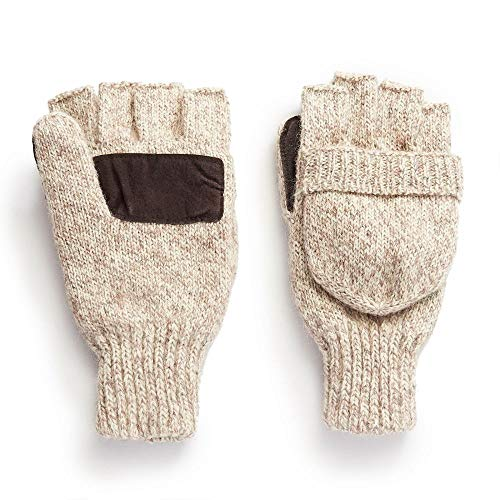 Hot Shot Men's The Sentry Wool Fingerless Pop-Top Mittens - Oatmeal, Insulated for Cold Outdoor Weather (Winter Gloves For Men Mittens)