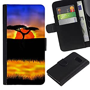 KingStore / Leather Etui en cuir / Samsung Galaxy S6 / El Safari African Sunset