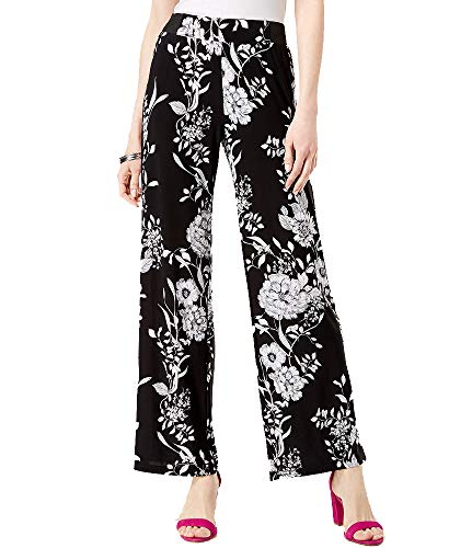 (I.N.C. International Concepts Women's Petite Printed Racing-Stripe Soft Pants (Black Polished Floral, PXS))