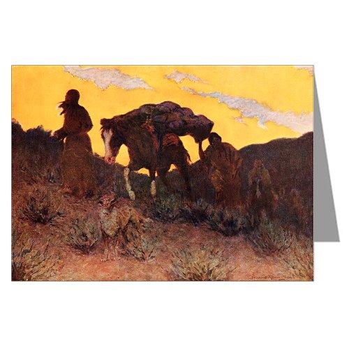 Six Vintage Cowboy Art Greeting Cards of Frederick Remington 1908 painting