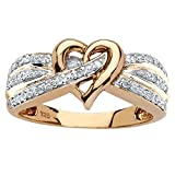 White Diamond 18k Yellow Gold over .925 Silver Crossover Heart Ring (.10 cttw, HI Color, I3 Clarity) Size 9
