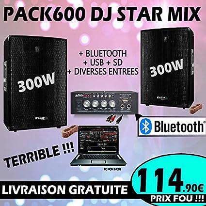 Pack sono 600 W total + Amplificador + 2 altavoces 300 W PA DJ ...