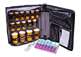 Med Manager by Case-It, Portable Pill Organizer Case, Travel Medication Bag, Holds Various Sized Pill Bottles, Great for Home Or Travel (Deluxe, Black)