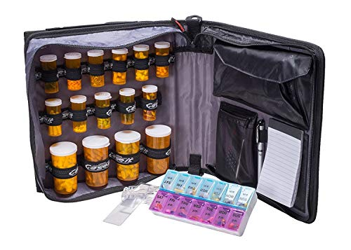 Med Manager by Case-It, Portable Pill Organizer Case, Travel Medication Bag, Holds Various Sized Pill Bottles, Great for Home Or Travel (Deluxe, Purple) ()