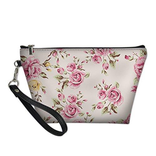 JUSICA Rose Cartoon Cute print Waterproof Easy Clean Cosmetic Bags for -
