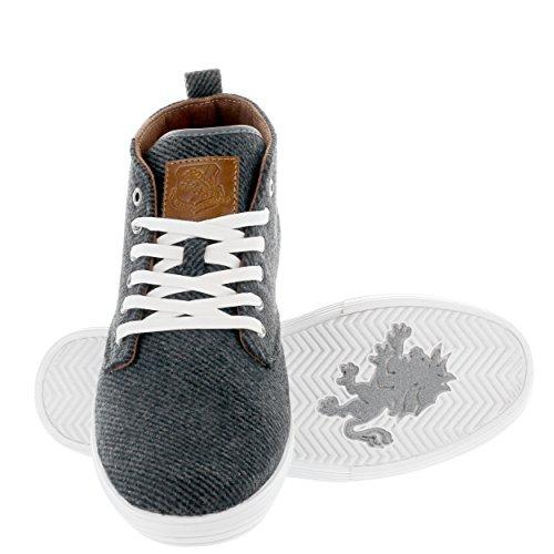 Vlado Calzature Uomo Leon Mid Top In Tela Sneaker Grigio Twill