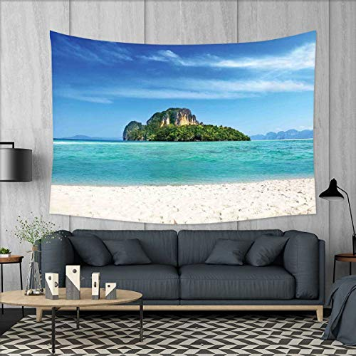 "Price comparison product image smallbeefly Island Tapestry Wall Tapestry Poda Island in Thailand Lagoon Limestone Sunshine Surfing Coastline Touristic Art Wall Decor 60""x51"" Turquoise Blue"