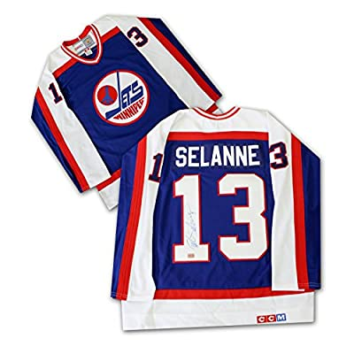 Teemu Selanne Autographed Winnipeg Jets (Dark) - Autographed NHL Jerseys
