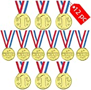 Tribello Olympic Gold Medals Awards for Kids (12 Pack),Olympic Necklace Goldtone Award Winner with Ribbons for