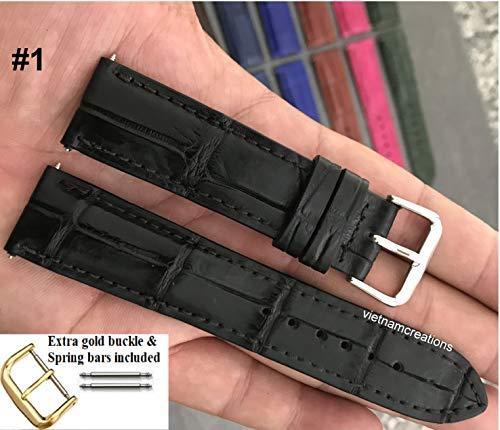 24mm Genuine CROCODILE/ALLIGATOR Skin Leather Watch Strap Band for men Handmade (24mm, 01 Black)