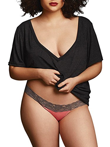 Hips & Curves Women's Lace Trim Cotton Spandex Thong 4X Peach