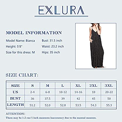 Exlura Women Casual Boho Plus Size Summer Maxi Dresses Polka Dot/Floral Printed Adjustable Strappy Dress with Pockets