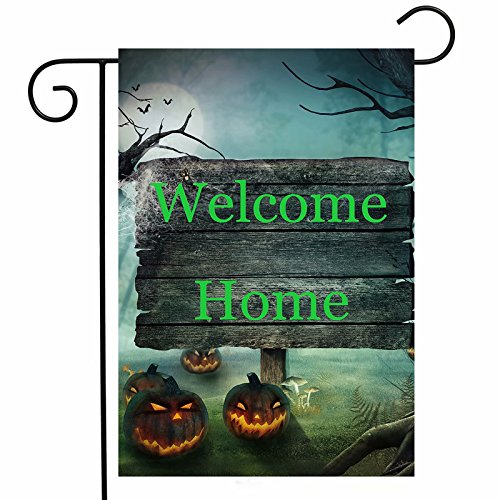ShineSnow Pumpkin Halloween Mushroom Garden Yard Flag 12''x 18'' Double Sided, Autumn Gothic Mysterious Forest Horror Scary Polyester Welcome House Flag Banners for Patio Lawn Outdoor Home Decor by ShineSnow