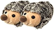 Linzy Fluffy Hedgehog, Novelty 3D Character Plush Animal Slippers. Kids Size 11-13 Brown