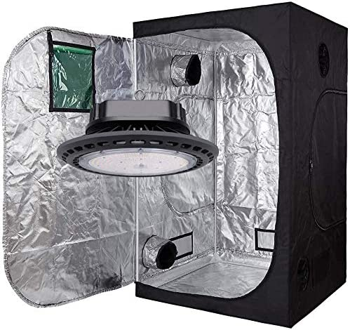 GreenHouser New TECH 300W 600W 900W UFO Real Full Spectrum LED Grow Multiple Size Dark Room with Removable Water-Proof Floor Tray for Better Planting. LED Light 900W, 60 x60 x80 Tent kit