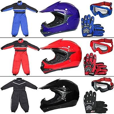 Leopard LEO-X15 Azul Casco de Motocross para Niños (S 49-50cm) + Gafas + Guantes (S 5cm) + Traje de Motocross para Niños - XS (3-4 Años)