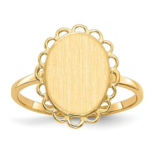 Open Back Oval Scallop Edge Womens Signet Ring Custom Personailzed with Free Engraving Available of Initials or Monogram ~ Size 5.75 in Solid 14K Yellow Gold by Roy Rose Jewelry