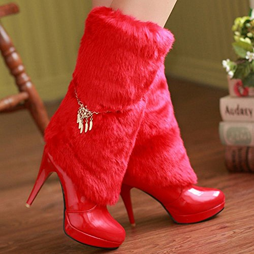 COOLCEPT Damen Warm Hohe Stiefel Ohne Verschluss Red