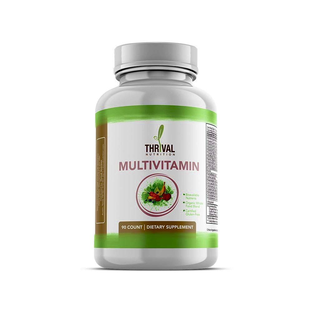 Thrival Nutrition Daily Multivitamin Multimineral Supplement for Men and Women, Contains Organic Whole Food Blend and Bioavailable Nutrients, Made in USA, 90 Capsules