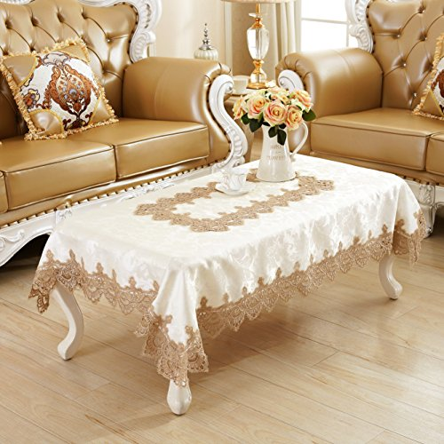 Qxfsmile Embroidered Table Cover Square Lace Tablecloth Unique Wedding Decoration 42 By 62 Inch White Tablecloth With Coffee Lace