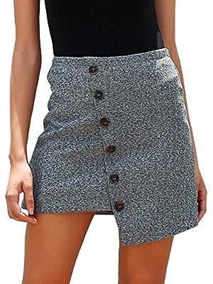 Simplee Women's Vintage Button up Asymmetric High Waist Mini Pencil Skirt
