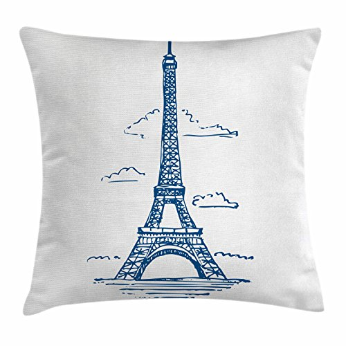 "Ambesonne Eiffel Tower Throw Pillow Cushion Cover, Illustration of Eiffel Tower in Paris Modern French City Skyline Minimalistic, Decorative Square Accent Pillow Case, 20"" X 20"", Blue"