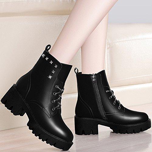 AJUNR-Zapatos De Mujer De Moda Zapatos De Nieve De Algodón Otoño Invierno Ma 6Cm D Arranca El Blizzard De Algodón Zapatos Los Estudiantes De Terciopelo Versión Coreana De La Marea Salvaje 38 Negro 40