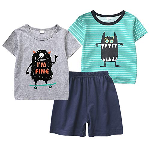 Boys 3-Piece Monster's Tshirt Top and Shorts Set -