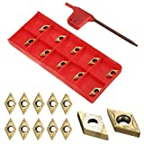 KINWAT 10pcs Carbide Inserts DCMT070204 US735 DCMT21.51 Inserts with Wrench for Lathe Turning Tool