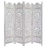 Kamal The Lotus Antique White 4 Panel Handcrafted Wood Room Divider Screen 72x80, Intricately carved on both sides making it fully reversible, highly versatile. Hides clutter, adds décor