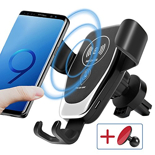 Fahren Car Wireless Charger Air Vent Gravity Phone Holder Mount Fast Charging for iPhone X / 8/8 Plus, Samsung Galaxy S9/S8/S7, S6/S6 Edge+ and All Support Wireless Charging Phone Device by Fahren