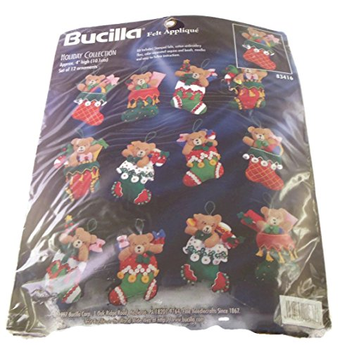 Bucilla Teddy Bear (Bucilla Felt Applique Holiday Collection set of 12)