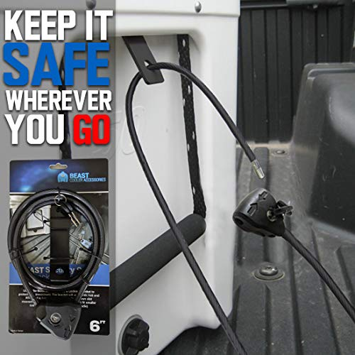Cooler Cable Lock and Bracket in One! Compatible with Yeti & RTIC Coolers - Designed for Medium to Large Sized Yeti & Rtic Coolers (Does Not Fit Roadie) - Includes Cable Lock & Bracket