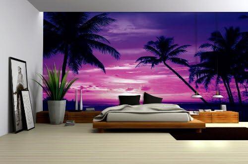 purple sunset on beach with palms wallpaper mural amazon co uk diy