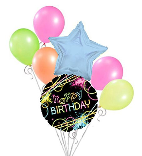 7 pc Black & Neon Party Happy Birthday Balloon Bouquet Decoration Glow Stick UV ()
