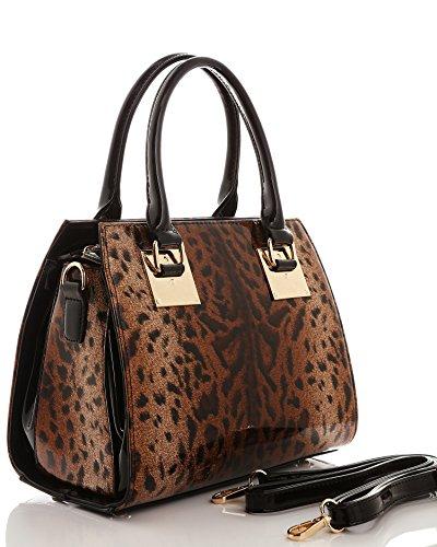JEZZELLE - Bolso de asas para mujer multicolor leopardo talla única