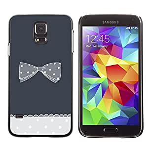 Arco de Bowtie Gris De Punto De lunares - Metal de aluminio y de plástico duro Caja del teléfono - Negro - Samsung Galaxy S5
