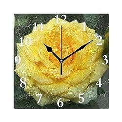 HangWang Wall Clock Yellow Rose Silent Non Ticking Decorative Square Digital Clocks for Home/Office/School Clock