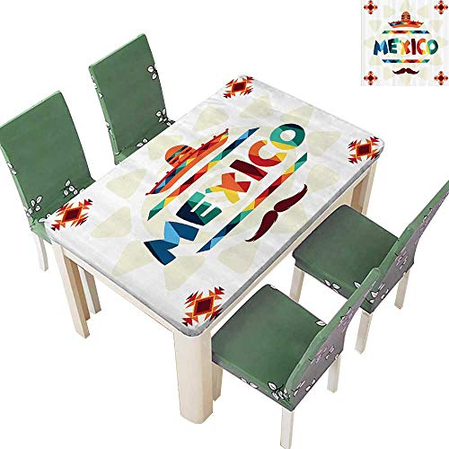 Printsonne Indoor and Outdoor Tablecloth Mexico Traditial Aztec Motifs and Sombrero Straw Hat Moustache Liquid Spills Bead up 50 x 102 -