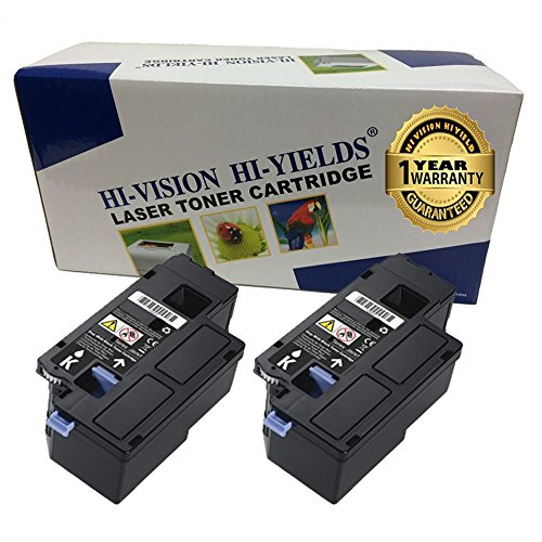 HI-VISION® 2 Pack Compatible (2,000 Pages) Dell E525w (593-BBJX, DPV4T) Black Toner Cartridge For E525w Color Multifunction Printer