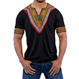 Nikuya Fashion T-Shirt Casual Tops Blouse Men's Slim Fit V Neck Printed Muscle T (M, Black)