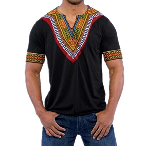 - Nikuya Fashion T-Shirt Casual Tops Blouse Men's Slim Fit V Neck Printed Muscle T (XXXL, Black)