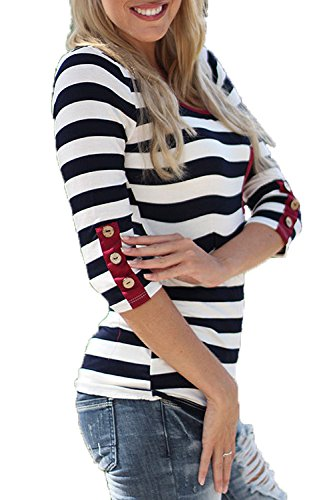 Womens 3/4 Sleeve Tops Color Block Striped T Shirt Basic Tee Blouses with Pockets Buttons