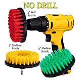 HIFROM Drill Brush - 5 in Medium Stiff Bristle Scrub Attachments Cleaning Kit for Bathroom Shower Tile Grout Carpet Tires Boats Kitchen