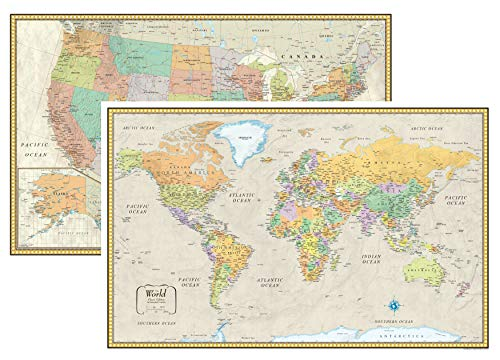 RMC Classic United States USA and World Wall Map Set (Laminated) (Best Refrigerator For The Money 2019)