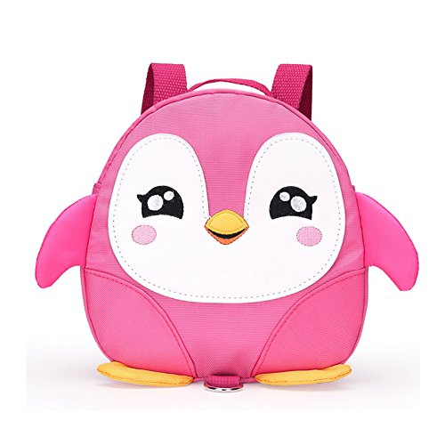 2017 New Style Cute Cartoon Penguin Mini Backpacks with Safety nylon tape for 1-3 Years Old Baby Toddler Walking Safety Backpack Little Kid Boys Girls Anti-lost Travel Bag (Pink) (Walking Book Activity)
