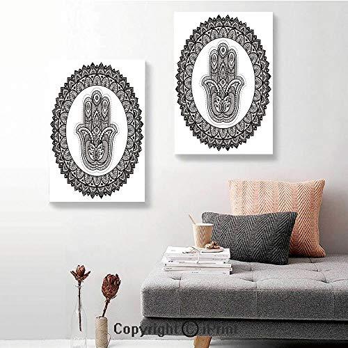 SfeatruRWF Canvas murals,Ancient Eastern Oriental Henna Hand and Mehndi Arabesque Tattoo Work of Art Print,16