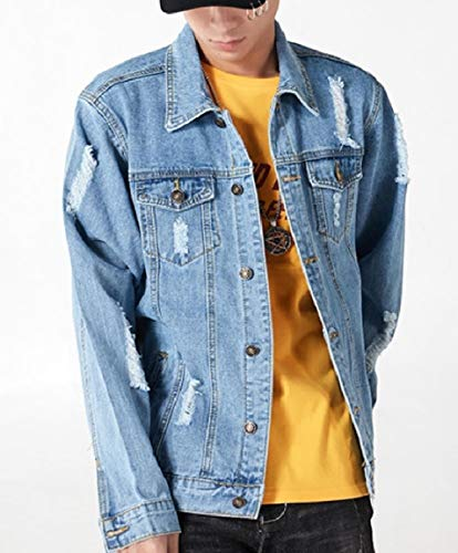 Jacket Collar Denim Down Coat Up Mens Hole Light Turn Mogogo Washed Blue Button nfBzZTwq