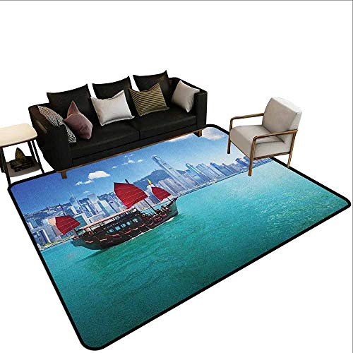 Children's Toy Carpet Ocean,Hong Kong Harbour Small Traditional Junk Boat with Flags Buildings Skyline and Sea, Aqua Blue Red