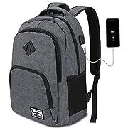 YAMTION Laptop Rucksack Herren Arbeit Rucksack Schulrucksack mit USB-Ladeanschluss für Business Wandern Reisen Camping…